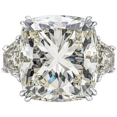 GIA Certified 17.18 Carat Cushion Diamond Three-Stone Engagement Ring