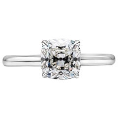 GIA Certified 1.72 Carat Antique Cushion Cut Diamond Solitaire Engagement Ring