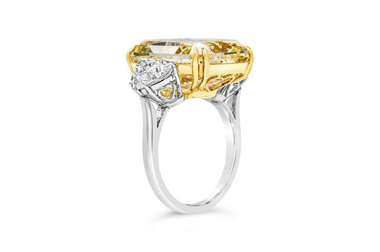 Radiant Cut GIA 17.25 Carat Intense Yellow Diamond Platinum Three-Stone Engagement Ring For Sale
