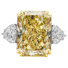 GIA 17.25 Carat Intense Yellow Diamond Platinum Three-Stone Engagement Ring
