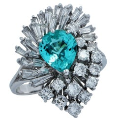 GIA Certified 1.73 Carat Tourmaline and Diamond Ballerina Ring