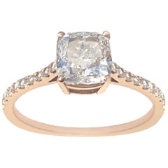 GIA Certified 1.74 Carat Cushion Cut Diamond Engagement Ring