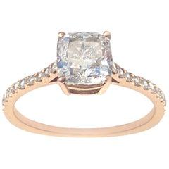 GIA Certified 1.74 Carat Cushion Cut Diamond Engagement Ring