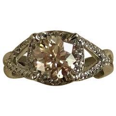 GIA Certified 1.74 Carat Fancy Light Brown Round Diamond Ring 18 Karat Gold