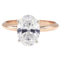GIA Certified 1.74 Carat K SI2 Oval Diamond Solitaire Engagement Ring