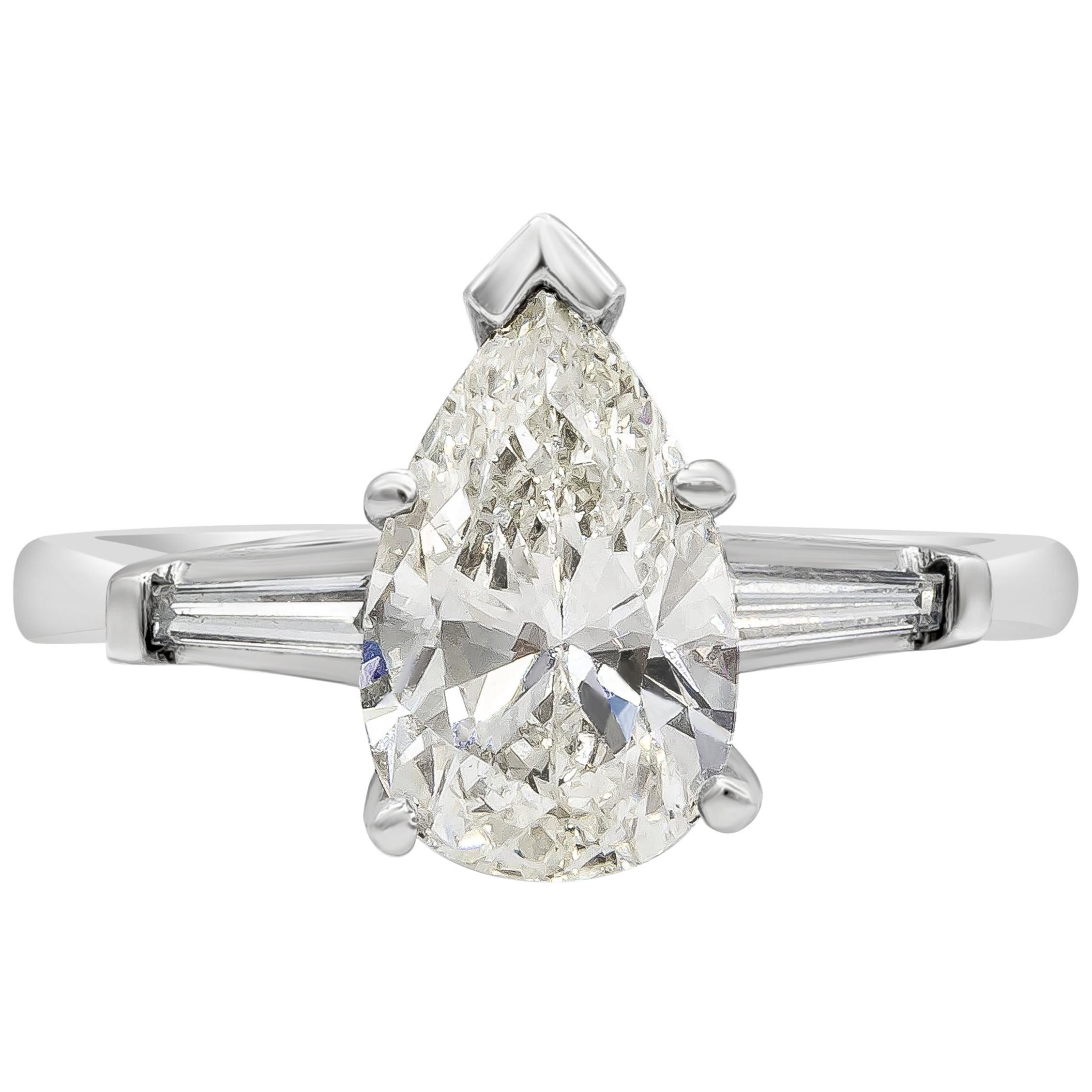 GIA Certified 1.74 Carat Pear Shape Diamond Three-Stone Engagement Ring