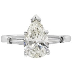 GIA Certified 1.74 Carat Pear Shape Diamond Three-Stone Engagement Ring