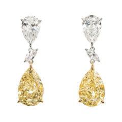 GIA Certified 17.42 Carat Pear Shape Yellow Diamond Drop Earrings in 18k Gold