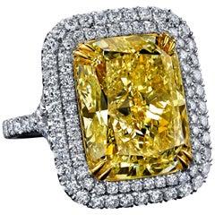 GIA Certified 17.49 Carat Cushion Cut Fancy Light Yellow Diamond Ring