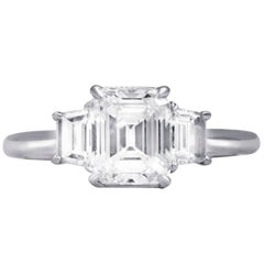 GIA Certified 1.75 Carat E-VS1 Three-Stone Engagement Ring