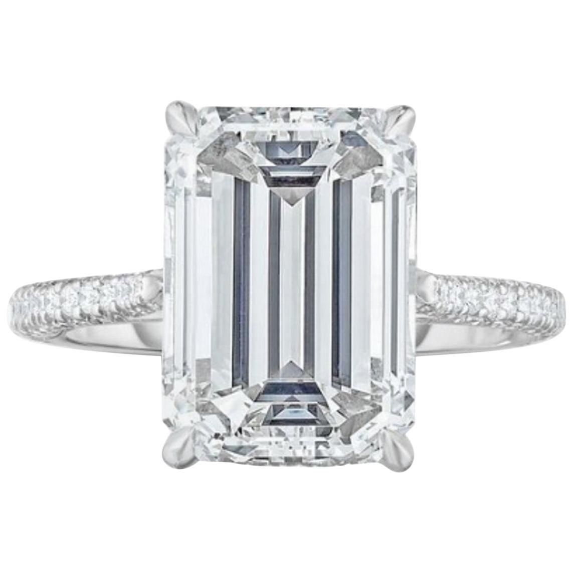 GIA Certified 1.75 Carat Diamond Long Emerald Cut Natural Diamond Ring