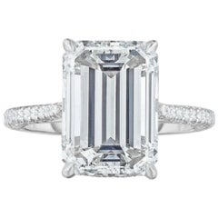 GIA Certified 1.75 Carat I VVS Diamond Long Eemerald Cut Natural Diamond Ring