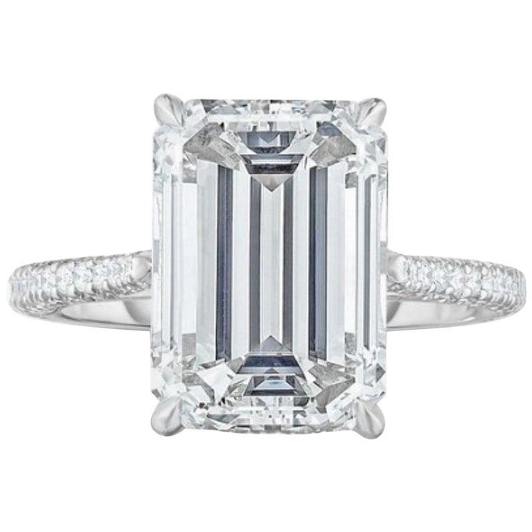 GIA Certified 1.75 Carat Diamond Long Emerald Cut Natural Diamond Ring For Sale