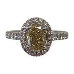 GIA Certified 1.75 Carat Natural Fancy Yellow Oval Diamond Ring 18 Karat Gold
