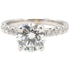 GIA Certified 1.75 Carat Round Brilliant Cut Diamond Engagement Ring