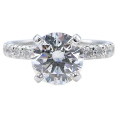 GIA Certified 1.75 Carat Round Brilliant Cut Diamond Engagement Ring
