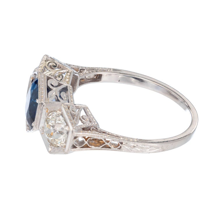 Oval Cut GIA Certified 1.75 Carat Sapphire Diamond Three-Stone Engagement Platinum Ring For Sale