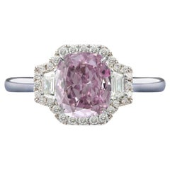 GIA Certified 1.75 Carats Fancy Light Pink Cushion Diamond Platinum Ring