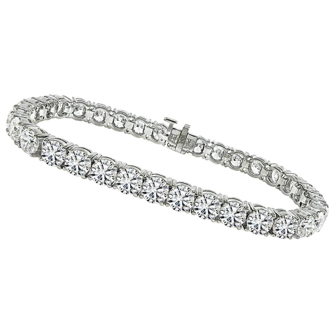 GIA Certified 17.54 Carat Diamond Gold Tennis Bracelet