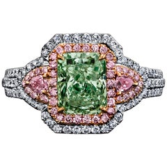 GIA Certified 1.75 Carat Radiant Fancy Yelowish Green Diamond Ring