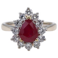 GIA Certified 1.76 Carat Burma Ruby and Diamond Halo Cocktail Ring
