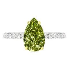 GIA Certified 1.76 Carat Pear Shape Green Diamond Ring