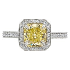 GIA Certified 1.76 Carat Yellow Diamond Vintage Style Halo Engagement Ring
