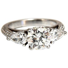 GIA Certified 1.77 Carat + 1.46 Carat Round Diamond Engagement Ring Platinum