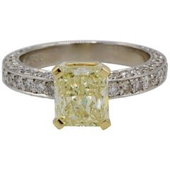 GIA Certified 1.77 Carat Fancy Light Yellow Radiant Diamond Engagement Ring