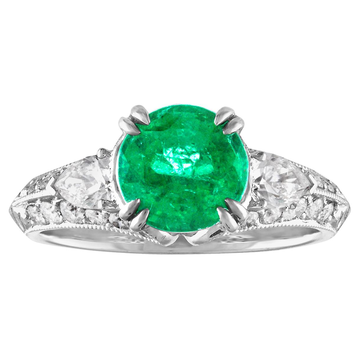 GIA Certified 1.78 Carat Round Emerald Diamond Gold Milgrain Filigree Ring