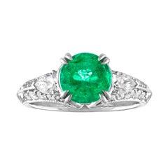 GIA Certified 1.78 Carat Emerald Diamond Gold Milgrain Filigree Ring