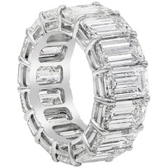 GIA Certified 17.83 Carat Emerald Cut Diamond Eternity Wedding Band