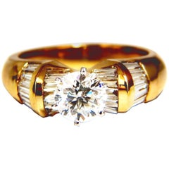 GIA Certified 1.78ct natural round diamond ring engagement 14kt cathedral