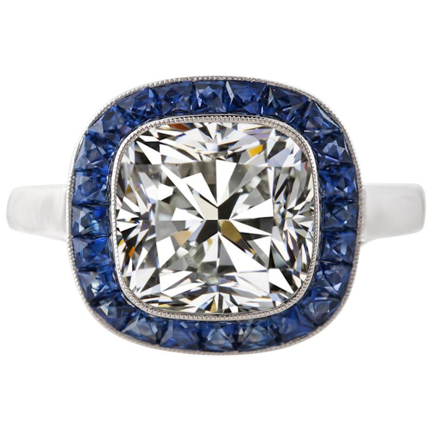 GIA Certified 1.79 Carat Cushion Cut Diamond Ring Sapphire Bullseye Ring