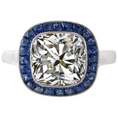 GIA Certified 1.79 Carat Cushion Cut Diamond Ring Sapphire Bullseye Ring