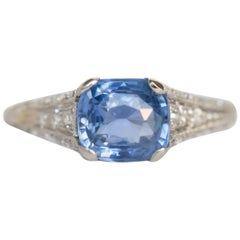 GIA Certified 1.79 Carat Sapphire Engagement Ring