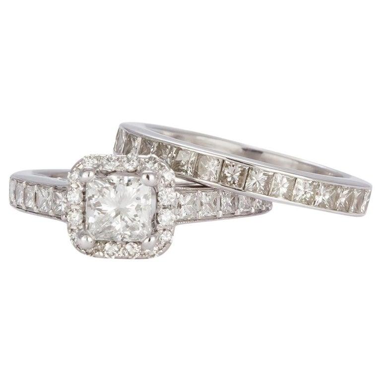 GIA Certified 18 Karat Gold and Princess Diamond Halo Wedding Set 3.58 Carat For Sale