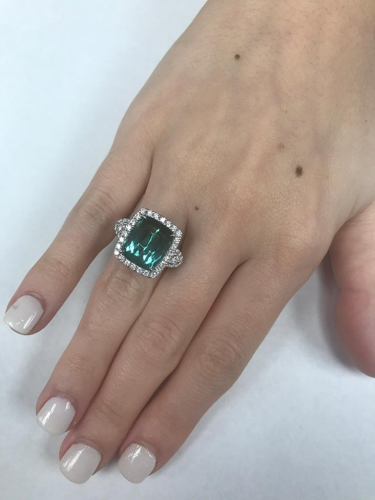 Contemporary GIA Certified 18 Karat Gold Cushion Cut Blue-Green Tourmaline and Diamond Ring For Sale
