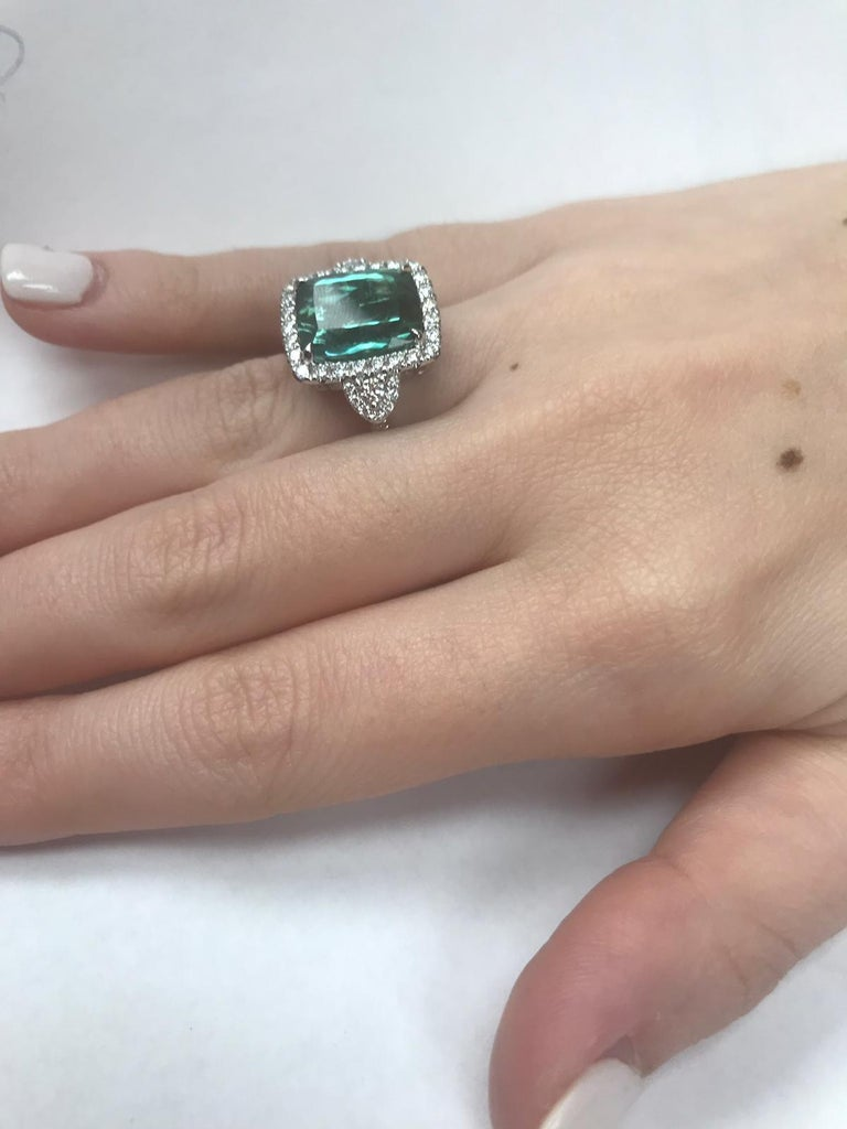 GIA Certified 18 Karat Gold Cushion Cut Blue-Green Tourmaline and Diamond Ring In New Condition For Sale In Great Neck, NY