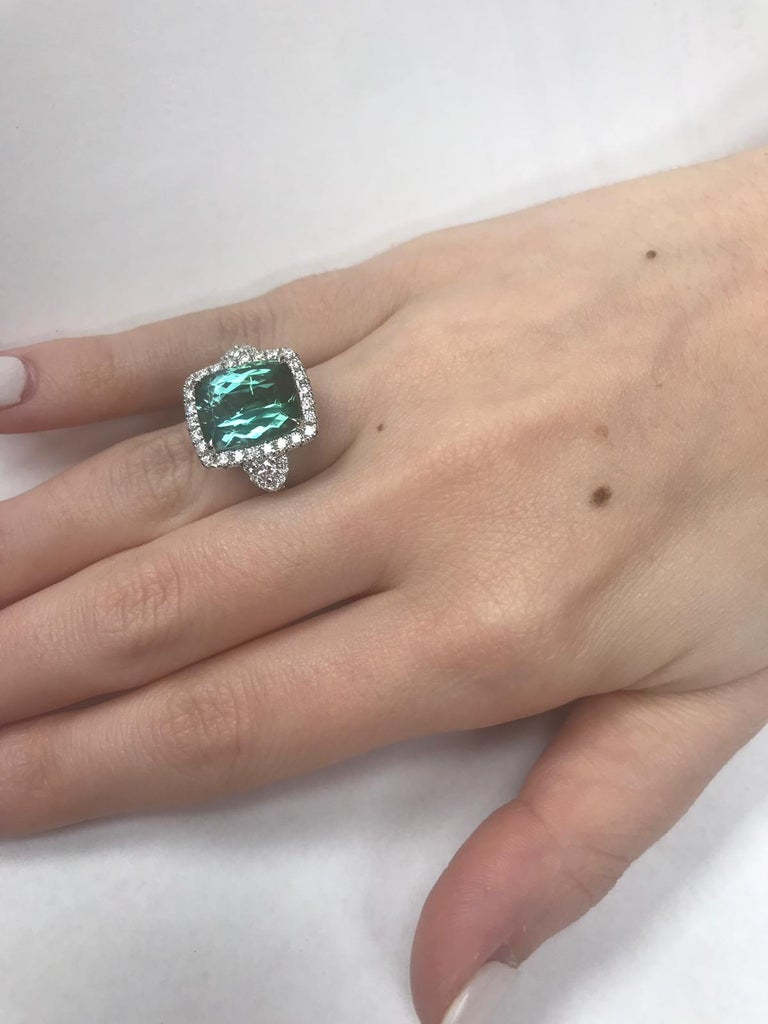 GIA Certified 18 Karat Gold Cushion Cut Blue-Green Tourmaline and Diamond Ring For Sale 3