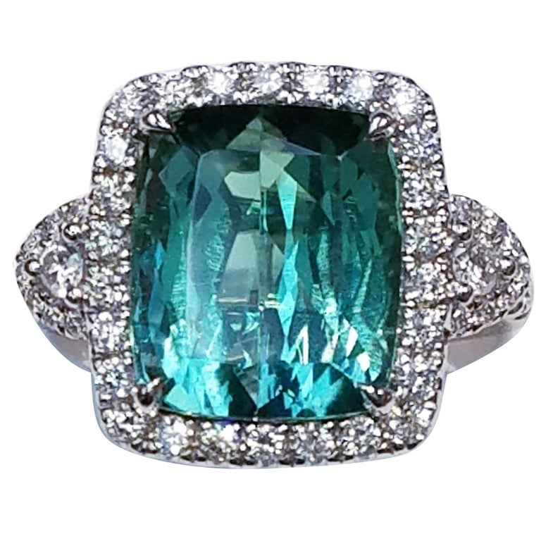 GIA Certified 18 Karat Gold Cushion Cut Blue-Green Tourmaline and Diamond Ring For Sale