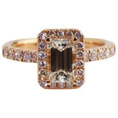 GIA Certified 18 Karat Rose Gold Emerald Cut Diamond Engagement Ring