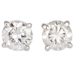 GIA Certified 18 Karat White Gold and Diamond Stud Earrings 1.64 Carat I/SI2
