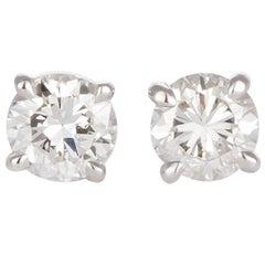 GIA Certified 18 Karat White Gold and Diamond Stud Earrings 1.64 Carat I/SI2
