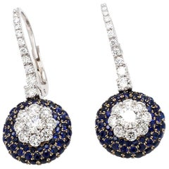 GIA Certified 18 Karat White Gold Blue Sapphire Diamond Cocktail Earring