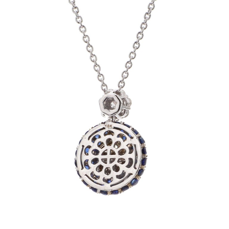 Contemporary GIA Certified 18 Karat White Gold Blue Sapphire Diamond Necklace For Sale
