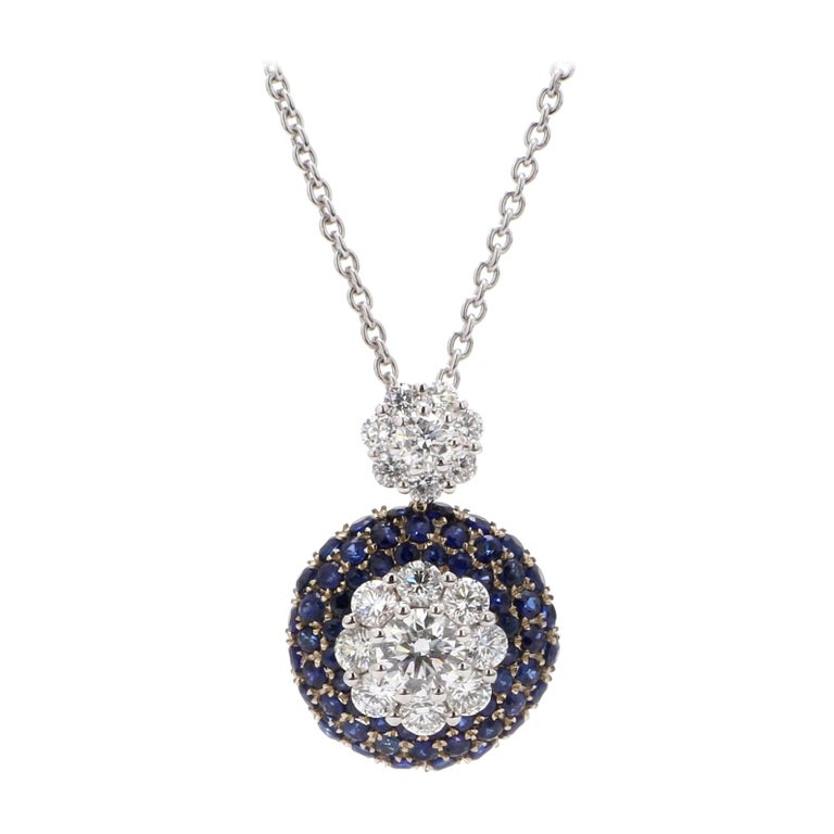 GIA Certified 18 Karat White Gold Blue Sapphire Diamond Necklace For Sale