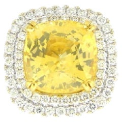 GIA Certified 18 Karat White Gold Cushion Cut Yellow Sapphire and Diamond Ring