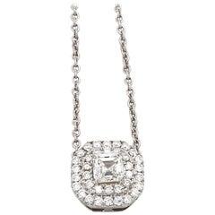 GIA Certified 18 Karat White Gold Double Halo Diamond Necklace