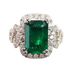 GIA Certified 18 Karat White Gold Emerald Cut Emerald and Diamond Ring
